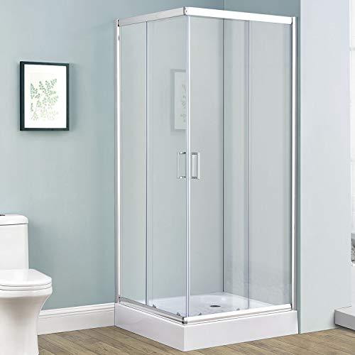 Duschkabine Braga 80 x 80 cm Alu-Echtglas mit Eckeinstieg & Schiebetüren