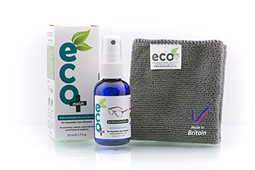Eyeglass, Lens and Optical Cleaner 50ml - Fine Microfiber Towel - All Natural - MADE IN UK, GREEN PRODUCT, NO AMMONIA AND ALCOHOL, Cleans all dusts and stains, Use for Glasses, Sun Glasses, Reading Glasses, Camera Lens and Spectacles without harming the coating of the Glass/Lens Test