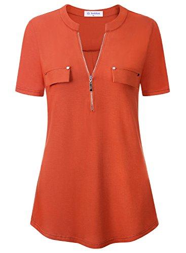 Bulotus Damen Bluseshirt Kurzarm mit Reißverschluss V-Ausschnitt Tops T-Shirt(Orange S) (Spandex Stretch-rayon)