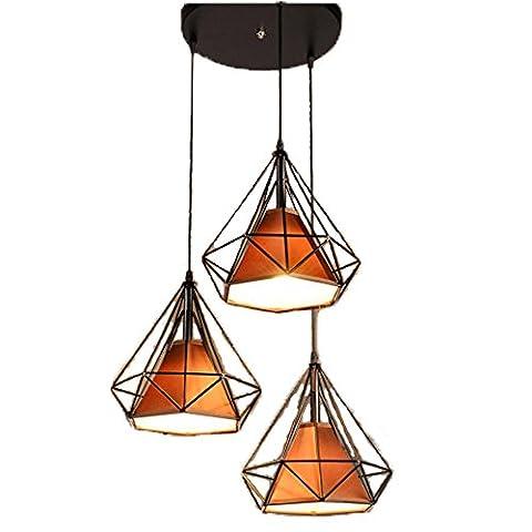 Originalité moderne Diamond Light Lustre Fer LED 3 tête for Living Room Bar , Disque 3 combinaison tête noir