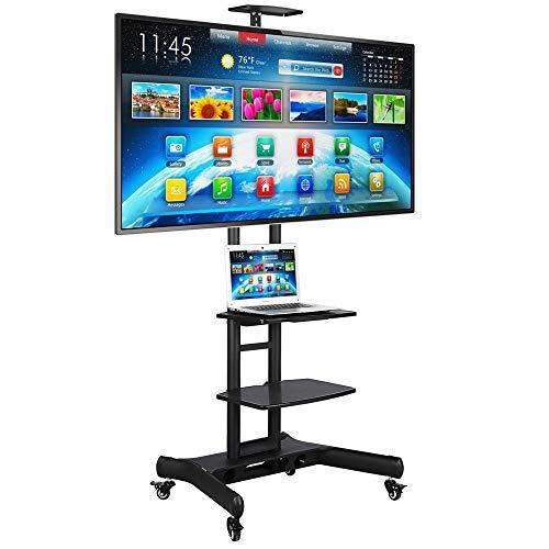 Yaheetech TV Standfuss TV Ständer mit Rollen Universal Mobil Wagen Fernsehständer schwenkbar Standfuß höhenverstellbar für 32-65 Zoll mit integriertem Kabel Führungssystem,Tragkraft bis max. 50 kg