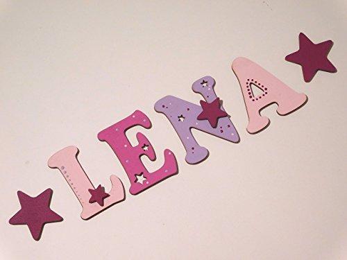 Holzbuchstaben für die Kinderzimmertür. Tolle Kinderzimmerdekoration. Handbemaltes Unikat. Als Wunschname individualisierbar / Inklusive 2 Sternmotiven in passenden Farben