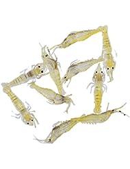 10 Piezas De Los Señuelos De Pesca De Camarones Suave Cebos Atraer A Los Camarones De Simulación De Color Amarillo