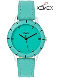 Xemex Sea Green Dial Analog Synthetic Leather Watch For Women's