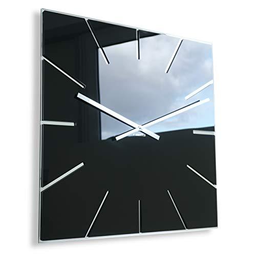 FLEXISTYLE Moderne große Wanduhr Exact 50cm, Acrylglas und Acrylspiegel, Stille, Wohnzimmer, Schlafzimmer (Schwarz)