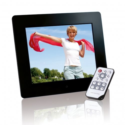 Intenso Photobase Digitaler Bilderrahmen (20,3cm (8 Zoll) Display, SD Kartenslot, Fernbedienung) schwarz Digitaler Bilderrahmen Video