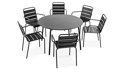 Oviala Table de Jardin Ronde et 6 fauteuils en Acier, Palavas