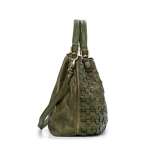 Ira del Valle, Borsa Donna, In Vera Pelle, Vintage, Borsa tracolla donna Modello Caraibica Bag, Made In Italy Verde Anticato