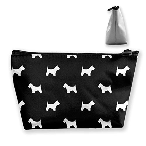 Frauen Westie West Highland Terrier Hund Silhouette Schwarz Make-up Taschen Tragbarer Reißverschluss Kosmetiktasche - Basic Essentials-mode Frauen