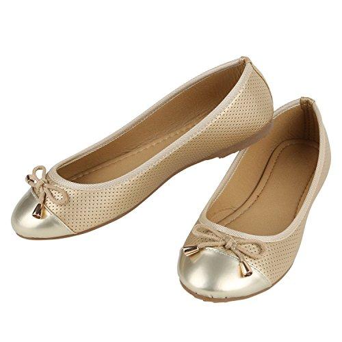 Klassische Übergrößen Damen Ballerinas Lederoptik Freizeit Flats Schuhe Gold Gold