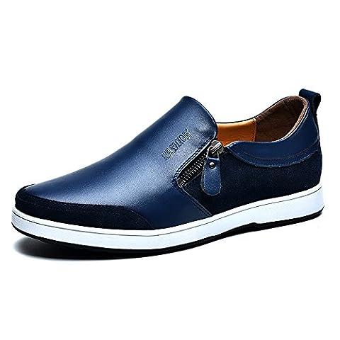Mens Casual Flache Leder Loafers Driving Slip auf Low-Top-Schuhe Lightweight Faul Invisible Höhe Erhöhung Schuhe 2,36 Zoll Taller für Mann (UK6.5 = EU39, Blau)