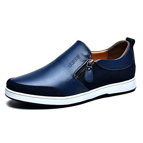 Mens Casual Flache Leder Loafers Driving Slip auf Low-Top-Schuhe Lightweight Faul Invisible Höhe Erhöhung Schuhe 2,36 Zoll Taller für Mann (UK7.5 = EU41, Blau) (Casual Tragen Herren Hochzeit)