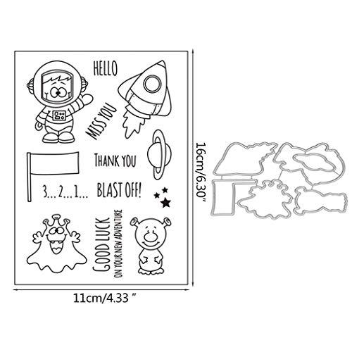 Transparent Stempel,Sprengen Sie Rakete Metall DIY Stanzformen Schablone DIY Scrapbooking Prägepapier Karte Dekor