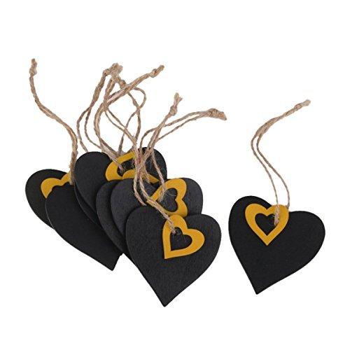 Tinksky 10Stk. Mini hängende Tafel Preis hölzerne Geschenkanhänger - Herzform (schwarz, Gelb) Gelb-hochzeit Bevorzugungen