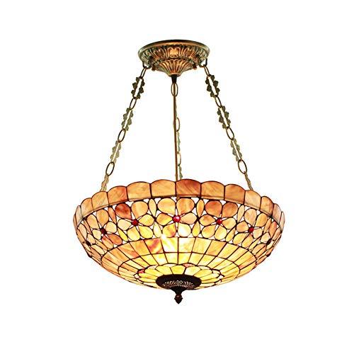Vintage Tiffany Stil E27 Kronleuchter, Glasmalerei Schirm Decke] Restaurant Schlafzimmer Dekor Deckenlampe-bunt 50x60cm -