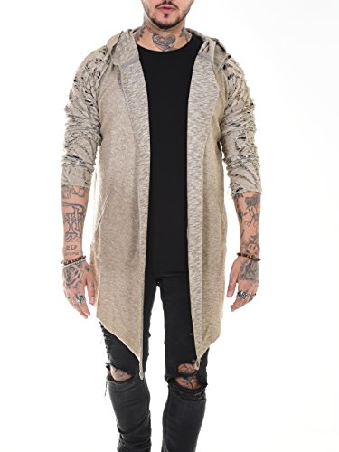 BAXMEN CULTWEAR Herren Cardigan Hoodie Destroyed Jacke Lang Strickjacke Hooded Long Sweatjacke Lang Vintage Slim Fit Braun Beige XXX-Large
