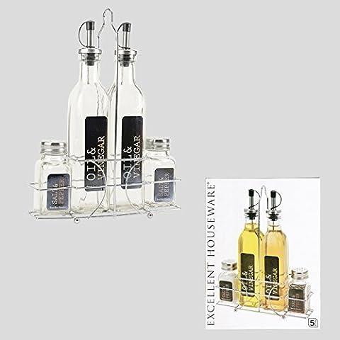 4-Teiliges Menagenset Menage Set Salz Pfeffer Streuer Essig Öl Spender Küche