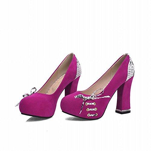 Mee Shoes Damen modern elegant runder toe Geschlossen speziell Heel Schleife Paillette Nubukleder Plateau Pumps Rosarot