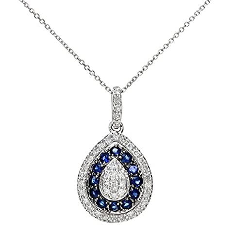 Naava Women's 9 ct White Gold 0.25 ct Blue Sapphire and Diamond Alternate Teardrop Pendant with Chain Necklace of 40 cm