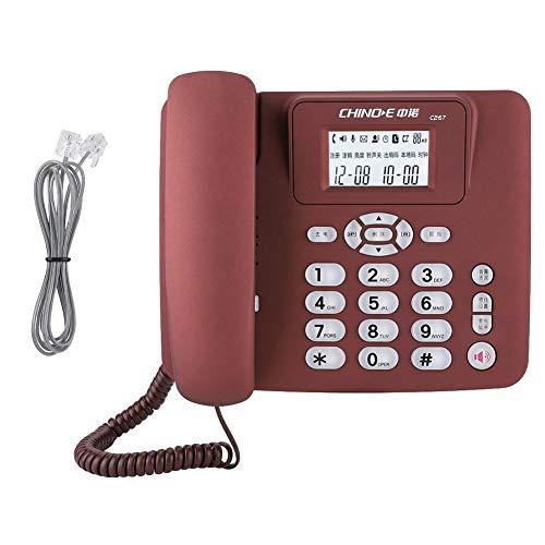 Diyeeni C267 Schnurgebundene Telefon mit Anrufbeantworter, Festnetztelefone mit Anrufer ID Anzeige Freisprechfunktion Gutem Klang, Einfaches Großtastentelefon für Büro Zuhause(Rot) (Mit Anrufer-id Telefone)