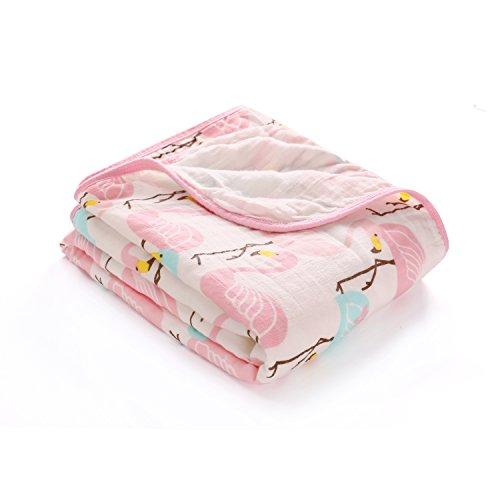 100% Musselin Baumwolle Decke Doppelte Schichten Baby Jungen und Mädchen Swaddle & Receiving blanket-unisex Große 120x150 cm, Dick Warme Babydecke Pucktuch Packungen für Neugeborene, Flamingo