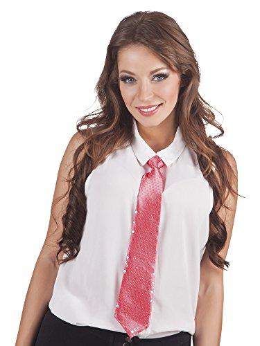 Faschingsfete Kostüm Farbenfrohe Krawatte mit Pailletten, Rosa