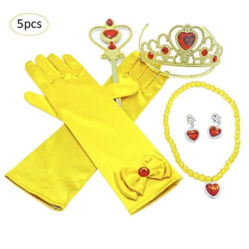 precauti Prinzessin Dress up Party Zubehör Verkleiden Sich Belle Gelb Geschenkset Prinzessin Prinzessin Anzieh Zubehör mit Krone Wand Handschuhe Halskette Ohrringe Zauberstab Set