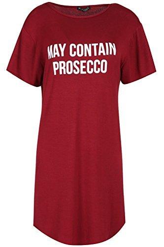 OOPS OUTLET Damen Kurzärmlig ENTHÄLT PROSECCO Bedruckt überdimensional Halbrunder Saum Langes Tunika T-Shirt Kleid Wein