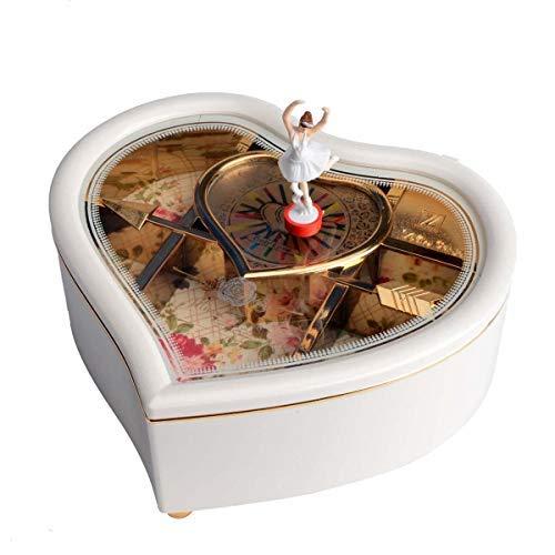 Uotyle - Caja de música con forma de corazón para regalo de Navidad, cumpleaños o San Valentín, color blanco