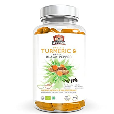 [*SPECIAL LAUNCH PRICE*] Unchained Warrior Organic Turmeric Curcumin 600mg with Organic Black Pepper for enhanced Absorption | Relief for Arthritis and Joint Pain | High Strength Anti-Inflammatory | 120 Clear Veg Capsules (Suitable For Vegetarians) | SOIL