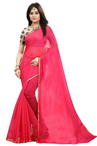 Silverstar Chanderi Cotton Saree With Blouse Piece (Sss1218 Mt 1222_Pink_Free Size)