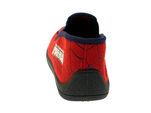 Kinder/Jungen Hausschuhe - d. ultim. Spiderman - Klettverschluss Slipper - Rot mit Augen