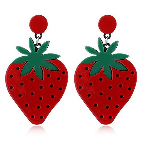 cht Ohrstecker Kreativ Ohrringe Mode Zitrone Tomaten Frauen Mädchen Schmuck Geschenke - Erdbeere ()