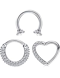 1109ce89d Milacolato Stainless Steel Body Piercing Jewelry Nose Rings Daith Cartilage  Clicker Hoop Septum Piercings Cubic Zirconia