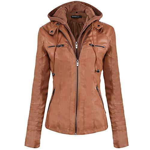 Newbestyle Jacke Damen Lederjacke Frauen mit Zip V Ausschnitt Kunstleder Bikerjacke Jacket Casual Übergangsjacke (Normale EU-Größe) (Braun, XL/44)