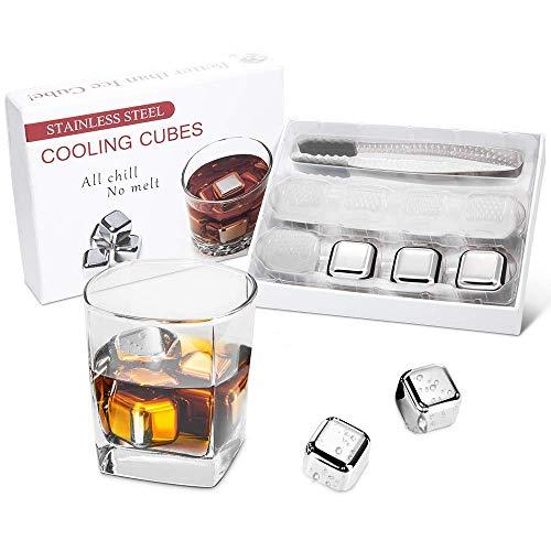 Synerky Whisky Steine (8 Stück),Edelstahl Eiswürfel ,wiederverwendbare eiswuerfel Für Whiskey, Wodka, Whisky Stones,Kühlsteine