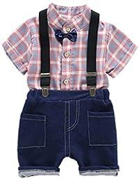 Milkiwai Camisas Manga Corta a Cuadros para niños pequeños ...