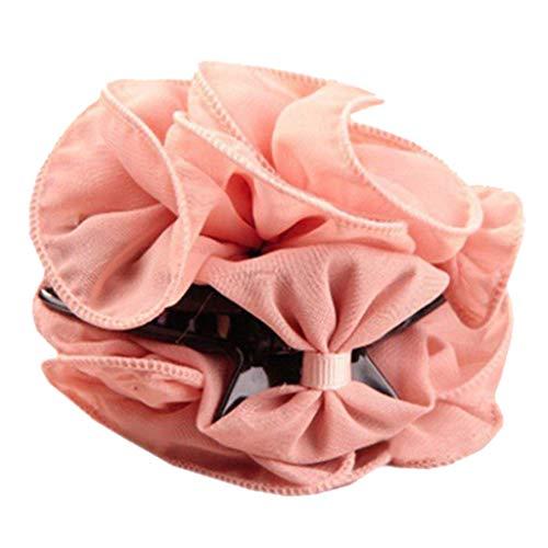 DeHolifer Frauen Chiffon Rose Clips Haarspangen Chiffon Bogen Haarschmuck Pendler Business Headwear -