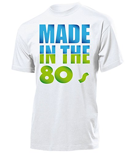 Made in The 80s Kostüm Schlager Motto Party Fasching Verkleidung Schlagerkleidung Mottoparty Paar Deko Disco Weste Hut Herren T Shirt Hippie
