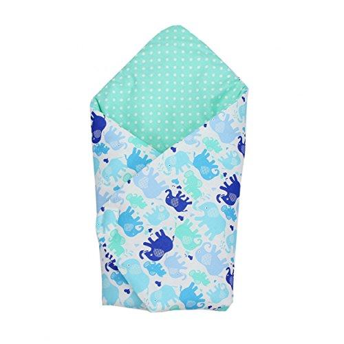 Babydecke zum Einwickeln Baby Einschlagdecke 100% Baumwolle Wickeldecke Warm Wattiert Wickelsack, Farbe: Elefant Blau, Größe: ca. 75 x 75 cm