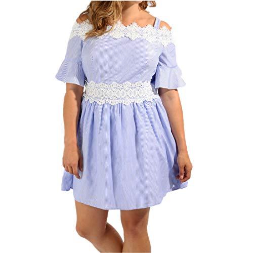 übergröße Kleider Damen Kolylong Frauen Elegant Spitzen Trägerlos -