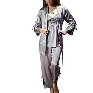 Amybria Frauen Qualitäts Seide Pyjama Set Grau Größe XL/42