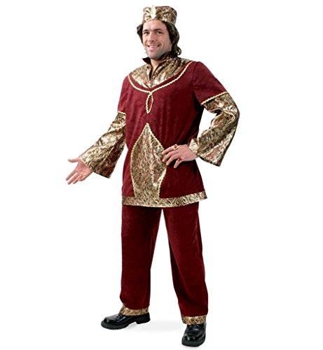 Herrenkostüm Raja Harem Kalif König Herrscher Orient Oberteil mit Hose und Mütze Karneval Fasching Gr L, XXL - Eine Nacht Mit Dem König Kostüm