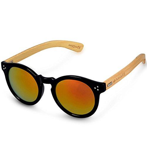 Navaris Holz Sonnenbrille UV400 - Unisex Damen Herren Retro Brille Holzoptik - Bambus Holzbrille mit...