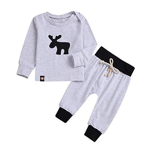 Huihong Kleinkind Jungen  Hirsch Print Sweater Pullover Tops + Verband Lange Hosen Pajama Outfits Set (Grau, 12-18Monate/90) -