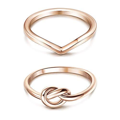 Finrezio 2 Stücke Edelstahl Verlobungsringe für Frauen Silber Daumen Liebe Knoten Ringgröße 47 Roségold-Ton
