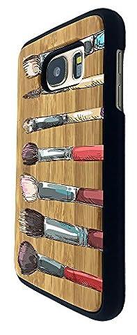 C0320 - Cool Fun Cute Make Up Brushes Illustration Art Ladies Blusher Foundation Fashion Trend Kawaii Design Samsung Galaxy S7 Edge G930 Coque Natural Véritable Bois Real Wood Coque