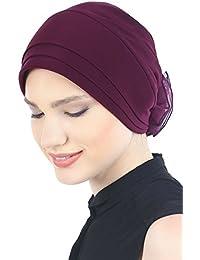 Eleganter, Vorderseitig Geopolster und Gefalteter Hüt Mit Chiffon Rose für Haarverlust, Krebs, Chemotherapie