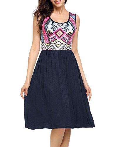 Parabler Damen Skaterkleid Basic Kleid A-Linie Kleid Rock O-Ausschnitt Stretch (A)drucken EU 40(Herstellergröße: L) -