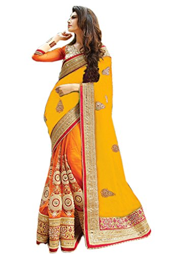 Try n Get's Yellow and Orange Color Silk Georgette and Nylon Net Designer Saree  available at amazon for Rs.1649